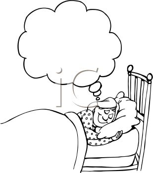 Black and White Cartoon of a Woman Dreaming