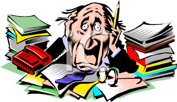 royalty free clipart image overworked man sitting at a messy desk rh clipartguide com