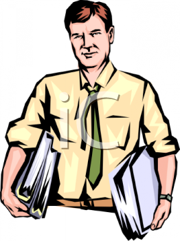 Man Carrying Binders Full of Documents