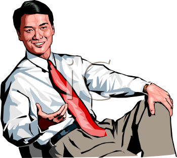 Smiling Businessman Sitting in a Chair