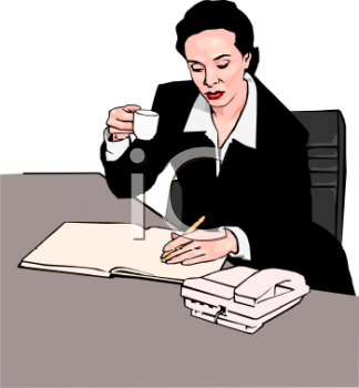 Businesswoman Drinking Coffee at Her Desk