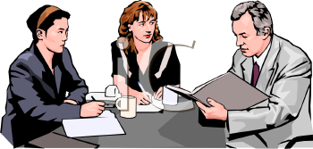 Realistic Style-Business People at a Meeting