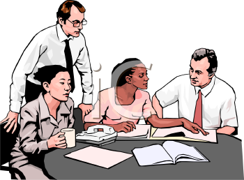 Realistic Style-Asian, African American and Caucasian Office Co Workers