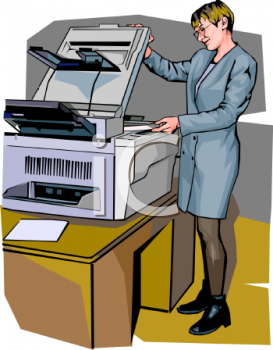 Realistic Style-Woman Using a Large Office Copier