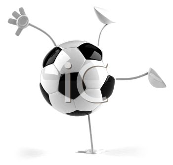 3D Soccer Ball Character Doing a Handstand