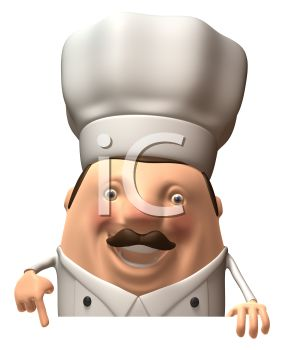 3D Chef Pointing to a Blank Sign
