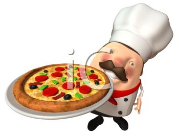 3D Pizza Chef Holding a Pizza