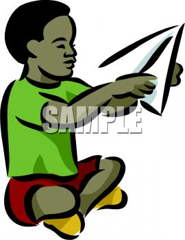 African American Boy Making a Paper Airplane