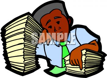 Black Businessman with a Huge Stack of Work Papers