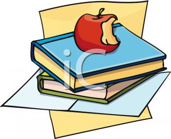 Apple Sitting on a Stack of School Books