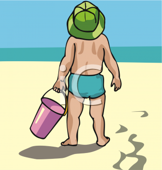 Little Kid at the Beach with a Pail