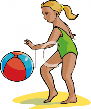 Little Girl Playing with a Beach Ball