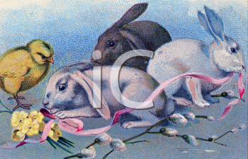 Easter Rabbits Playing with Ribbons
