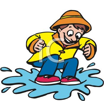 Cartoon of a Happy Boy Jumping in a Rain Puddle