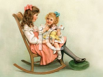 Victorian Girl and Her Big Sister Sitting in a Rocking Chair