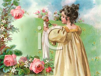 Victorian Girl Playing In A Meadow Royalty Free Clip Art