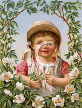 Victorian Child Surrounded By a Floral Border