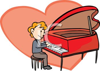 Man Playing A Heart Shaped Piano