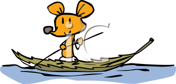 Cartoon Mouse Using a Leaf as a Boat