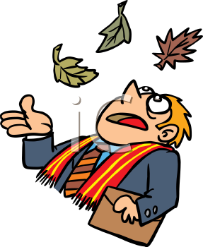Businessman Looking Up at Falling Leaves