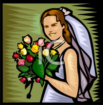 Smiling Bride Holding Her Bouquet
