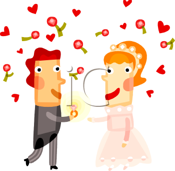 Cartoon Bride and Groom Surrounded by Hearts and Roses