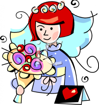 Cartoon Bride Holding Her Bouquet