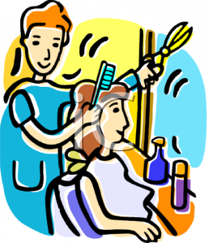 Cartoon of a Woman Getting Her Hair Done