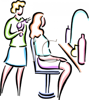 stylist blow drying a patron s hair royalty free clip art picture rh clipartguide com