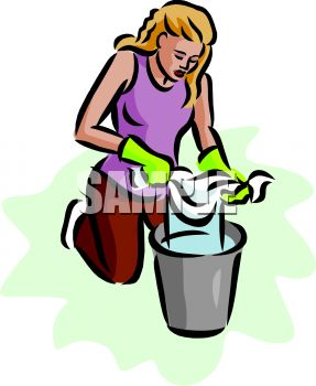 Woman Squeezing Out a Rag Into a Bucket