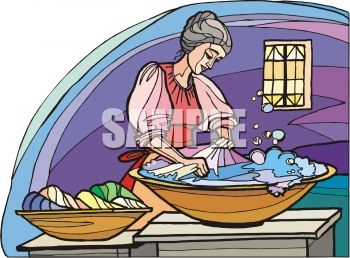 Woman Washing Laundry by Hand