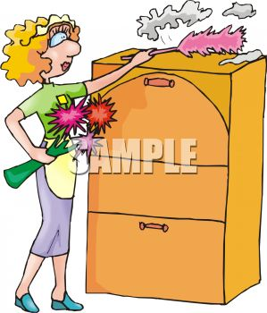 Maid Dusting a Filing Cabinet