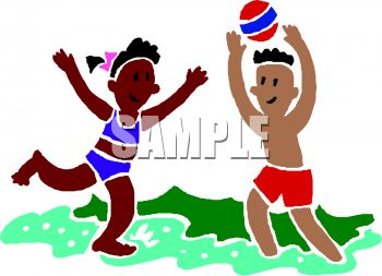 Mixed Race Kids Playing Ball at the Beach