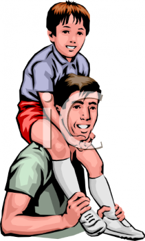 Dad Holding His Son on His Shoulders