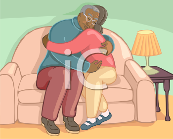 African American People Hugging on a Couch