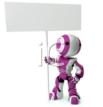 A 3D Robot Standing With A Sign