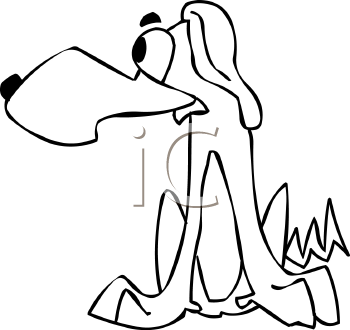 Black and White Hound Dog Cartoon