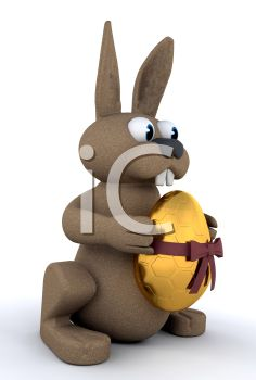3D Bunny Holding a Gold Easter Egg