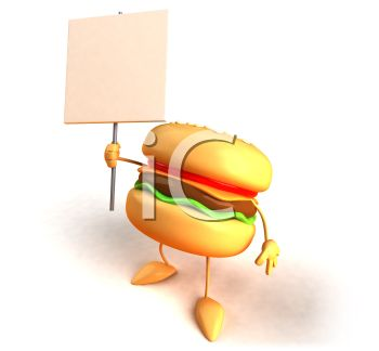 3D Cheeseburger Holding a Blank Sign
