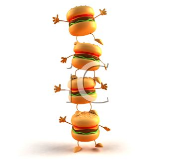 3D Cheeseburgers Stacked in a Tower