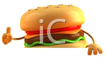 3D Cheeseburger Giving a Thumbs Up