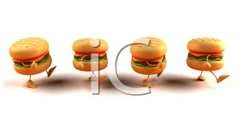 3D Cheeseburgers Walking in a Line