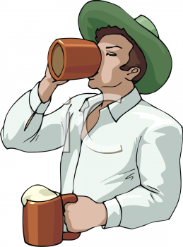 A Man Drinking Mugs Of Beer