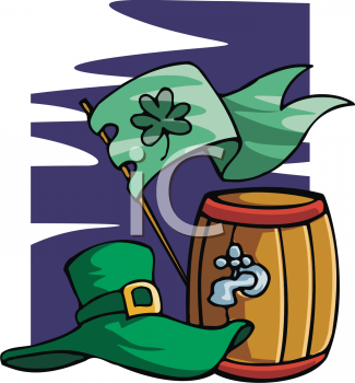 A Keg Of Beer With A Shamrock Flag And A Leprechaun Hat
