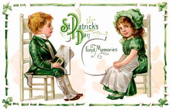 A Vintage Saint Patricks Day Card Showing Children In Victorian Clothing