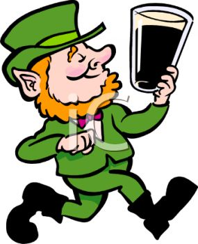 Cartoon Leprechaun Holding a Pint of Ale