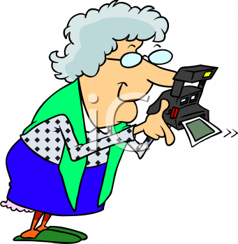 Cartoon of a Grandma Using a Polaroid Instant Camera