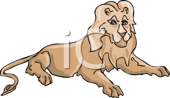 Cartoon of a Lion Laying Down