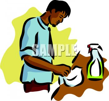 Royalty Free Clip Art Image A Hispanic Man Cleaning Counter