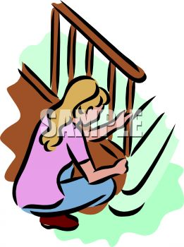 A Woman Wiping Down A Banister